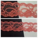 Coral double scalloped embroidered floral design tulle trim 2 inch wide.