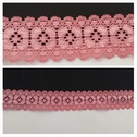 Dusty rose double scalloped stretch lace trim 1 inch wide S2-9