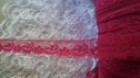 Fuchsia narrow floral design poly  lace trim 1/2  inches wide L 6-4