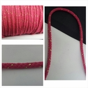 Fuchsia with gold round cotton twisted cord string 1/4 inch wide.