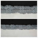 Gray double scalloped 3D floral design 1 inch wide stretch lace trim.