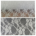 Gray floral design 4 way stretch lace fabric 60 inches wide.
