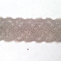 Grey Taupe Stretch Lace Double Scalloped Trim 1 3/4 inch wide S3-7