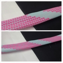 Hot pink with light aqua double chiffon dotted bias trim 1 1/4 inches wide.