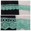 Insert Aqua Green 2 tone  Embroidered Floral Design Tulle trim 1 5/8 Inches wide.