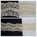 ivory double scalloped embroidered tulle trim 1 13/16 inch wide.