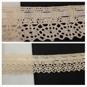 Ivory insert crochet Clunny trim with satin ribbon 1 1/2 inches wide.
