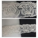 Ivory rose embroidered tulle trim 1 3/4 inch wide.