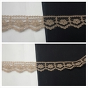 Khaki  Narrow Scalloped Edge Floral Design Lace Trim 1/2 Inches Wide. L 1-5