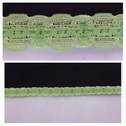 Lime green narrow floral design stretch lace trim 1/2 inches wide.