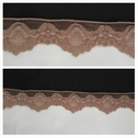 Mid brown scalloped stretch lace trim 1 1/4 inch wide. S2-5