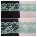 Mint double scalloped embroidered tulle trim 2 inch wide.