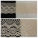 Natural double scalloped embroidered crochet clunny trim 3 1/2 inches wide.