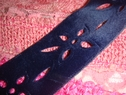 Navy blue velvet laser cut trim 1 1/2 inches wide.