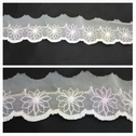 3 tone organza white, baby purple and yellow scalloped embroidered organza lace trim 1 3/4 inch