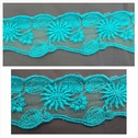 Aqua green tulle embroidered trim 1 3/4 inch wide.