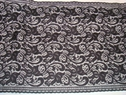 Beautiful black wide floral stretch lace fabric  trim  12 3/8 W S6-7