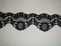 Black double scalloped floral lace trim 1 7/8 W L3-9