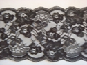 Black Double Scalloped Floral Wide  Lace Trim 5 W L 8-7