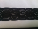 Black scalloped embroidered stretch lace trim 1 1/4 inches S2-7