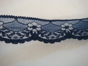 Midnight blue scalloped floral lace trim. 1 1/4 W L7-2