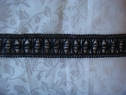 Unique black faux leather floral braided embroidered trim 2  wide
