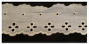Ivory Cotton Embroidered Scalloped Eyelet  Trim 2 Inches