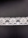 White floral double scalloped stretch lace trim 1 in W S3-10