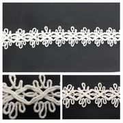 Off White Beige 2 tone  Double Scalloped Embroidered Gimp Trim 1 inch wide