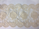 Ivory Cotton  Double Scalloped Tulle  Lace Trim Rose Design 7 1/2 inch