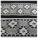 Off white embroidered flower design crochet clunny trim 2 3/4 inch wide.