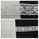 Off white scalloped flower design stretch lace trim 1 3/16 inches wide. S2-10