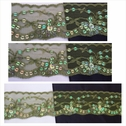 Olive double scalloped iridescent small and large sequins lace trim 1 3/4 inches wide.