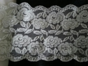 White rose embossed  scalloped stretch  wide lace trim 6   w S5-1