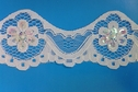 Pure white lace double scalloped iridescent cupped seqins with small beads 2 inch
