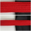 Red flat cord trim 7/16 inches wide.