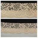 Scalloped pale peach stretch lace trim 2 7/16 inch wide. S6-3
