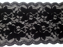 Stretch Black White Lace Trim Floral Design Double Scalloped Wide 5 1/2 inch