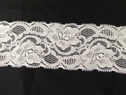 Stretch Lace Black and White Floral Design Double Scalloped Trim 1 3/4 inch