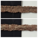 Taupe fancy flat back emboss cord trim 3/8 inches wide.