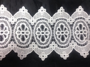 Ivory rayon Venise Double Scalloped Lace Trim Floral Design 8 inch Wide