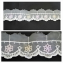 White scalloped embroidered organza in 4 tone white, baby purple, baby pink, and yellow  1 3/4 inch