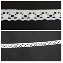 White scalloped narrow stretch lace trim 1/4 inches wide. S5-4