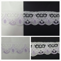 White with Lilac Scalloped Lace Trim 1 1/4 Inches Wide. L 6-2