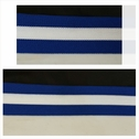 Wide royal blue and white polyester knitted  ribbon trim 1 1/2 inch wide.