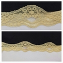 Yellow double scalloped stretch lace trim 1 1/2 inch wide. S2-8