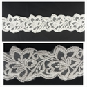 Ivory floral design ivory tulle embroidered trim 1 3/4 inch wide.