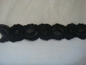 Black scalloped stretch lace trim 1 inch thick S8-3