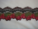 Red green & black strawberry design stretch lace 3 1/4 inch wide 200-3