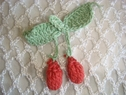 10 pieces sage light brick cherries crochet applique 2  wide